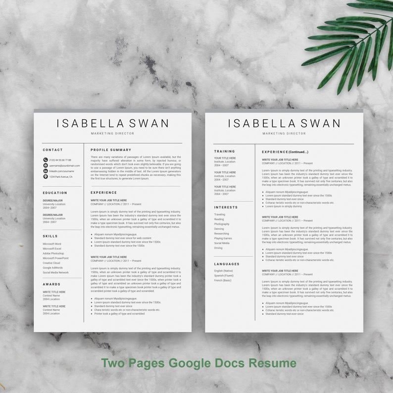 Google docs resume template google docs cv google cv
