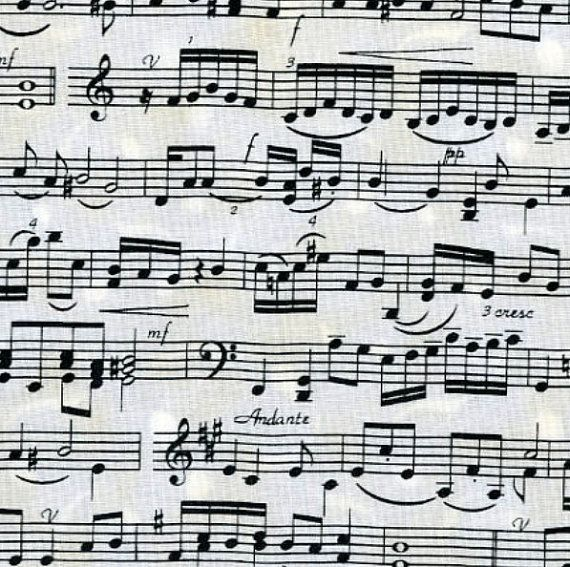 Music Note Fabric Backing For Band Shirt Quilt Timeless