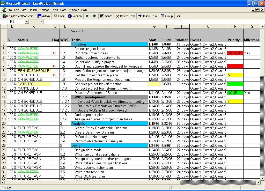 EasyProjectPlan Excel Gantt Chart Template Planner Software - project timetable