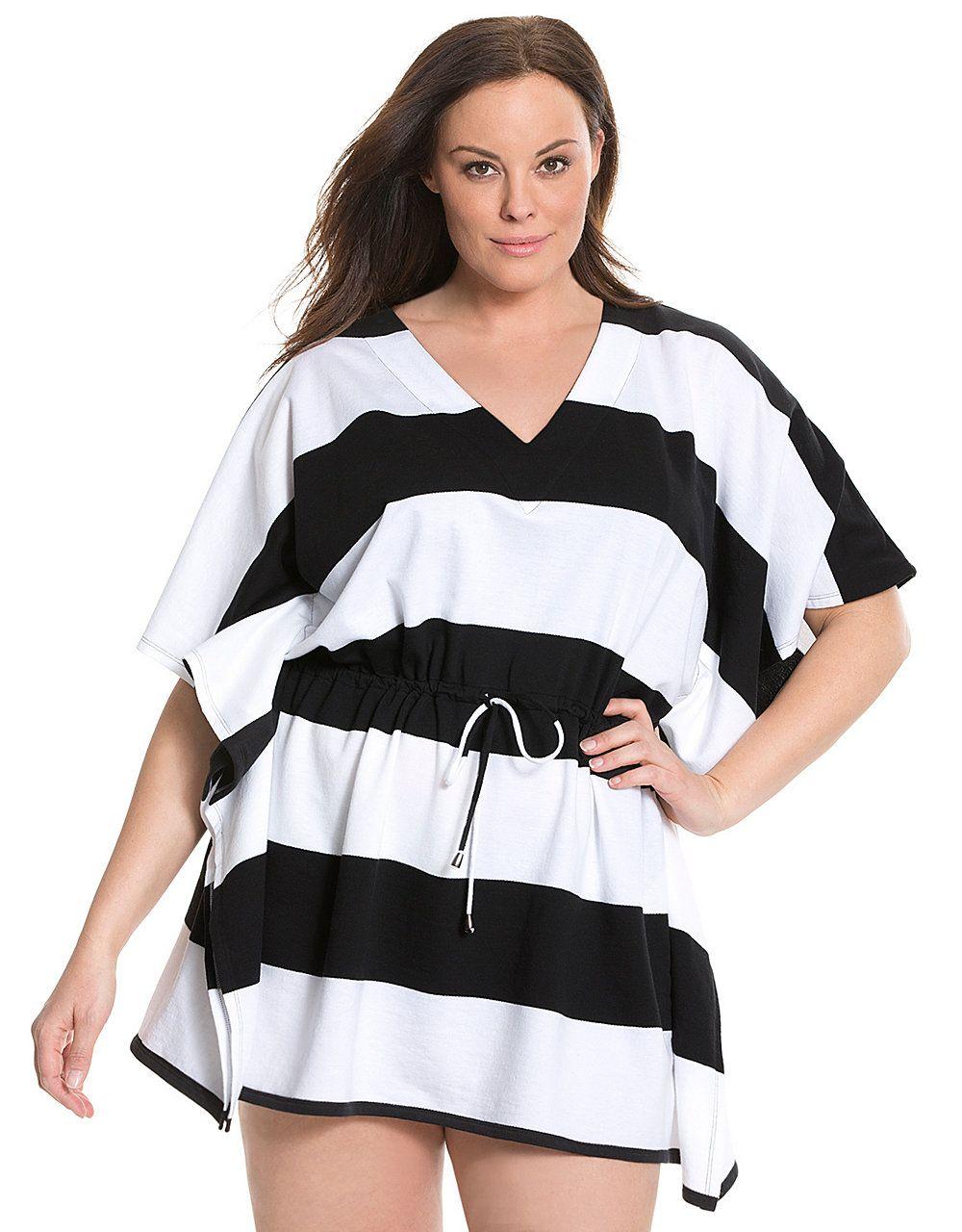 cb0365908b Black and white top. 6th & Lane striped swim cover up by Lane Bryant | Lane  Bryant