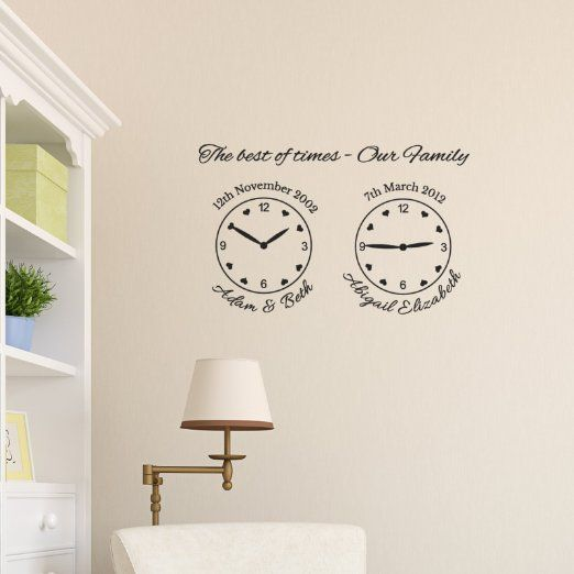 our family wall clock decal - name, date and time wall decal