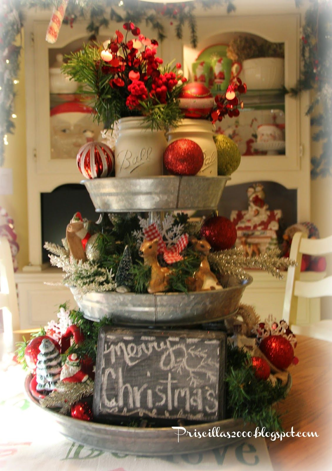 Christmas Galvanized Tray Centerpiece Christmas Centerpieces Christmas Decorations Christmas Diy