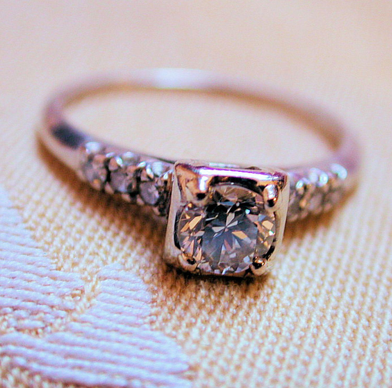 40s Platinum Diamond Wedding Ring Illusion Head .5 Carat