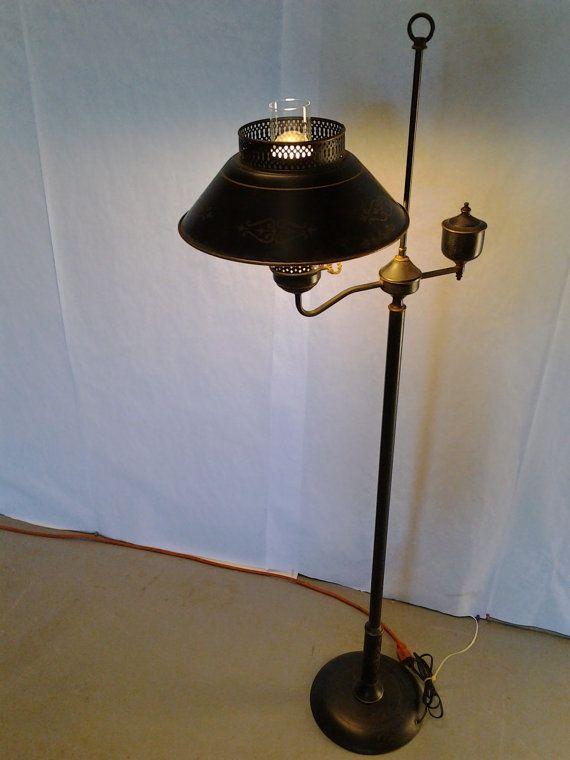 Vintage mid century tole ware standing lamp floor by for Retro globe floor lamp