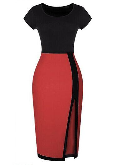 Enchanting Slit Design Short Sleeve Color Block Dress | Rosewe.com