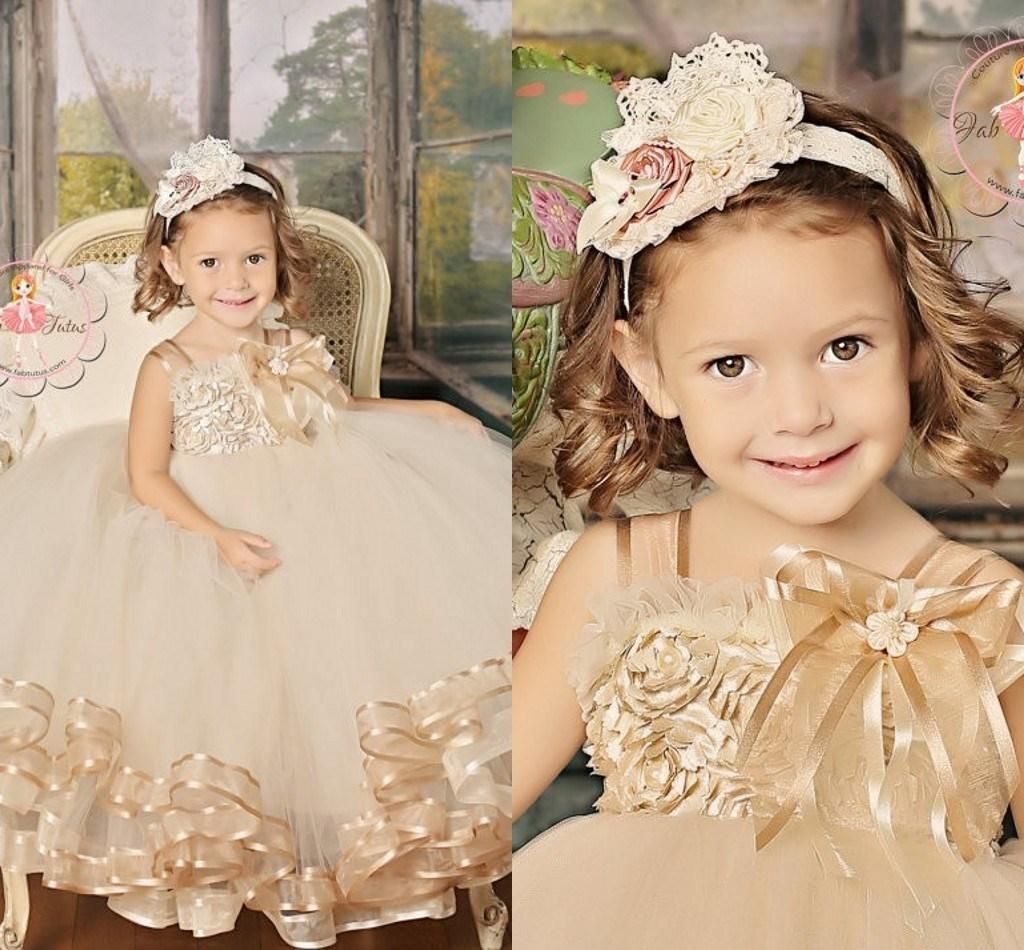 Lovely Golden Hand Made Flowers Spaghetti Straps Princess