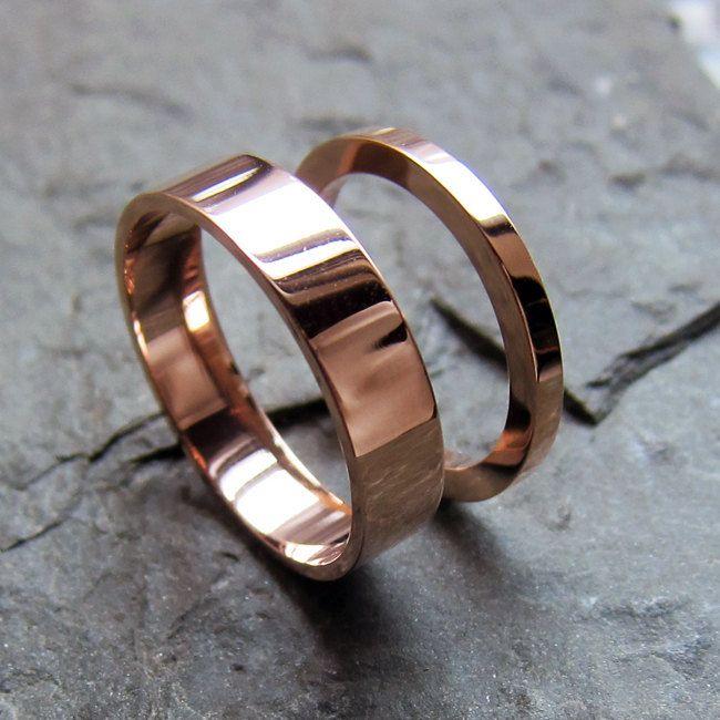 Rose gold wedding rings 14k recycled rose gold wedding set 2mm