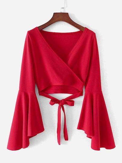 Blusa cruzada de mangas acampanadas con lazo para ajustar #spanishthings