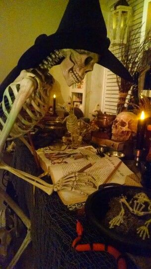 Witch at her spell table.