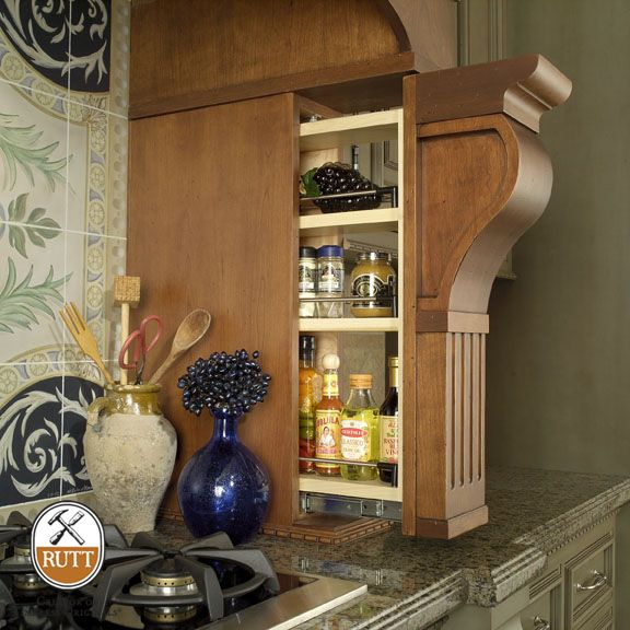 Pullout Columns Integrated Into Wooden Range Hoods Provide Hidden Storage For Spices And Oils With Images Kitchen New York Organizing Your Home Decor