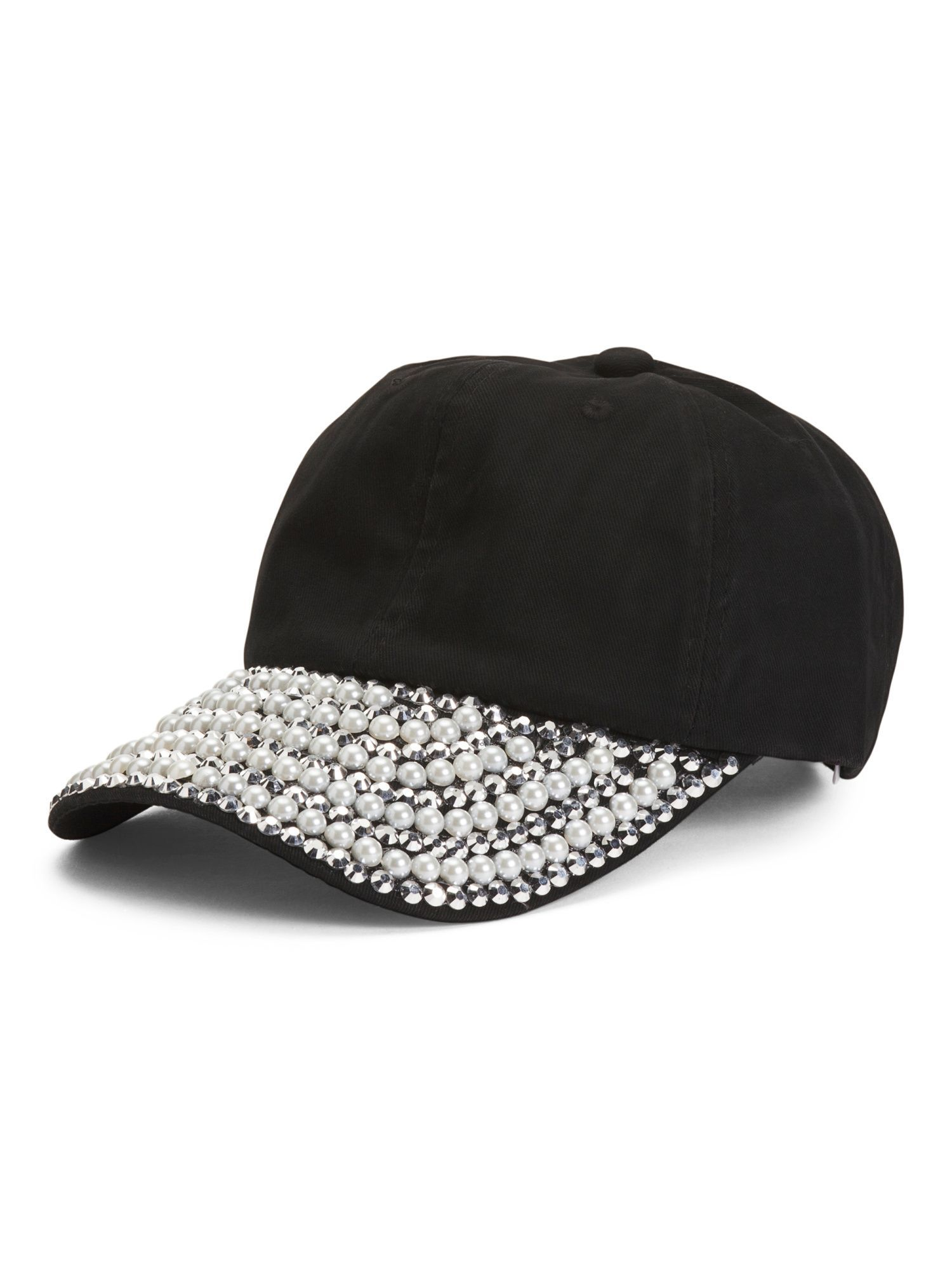 0822a10888f96 Pearl And Rhinestone Baseball Cap
