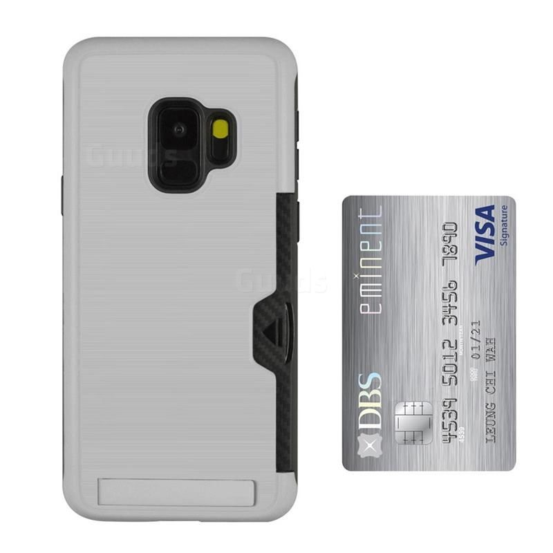 Brushed 2 In 1 Tpu Pc Stand Card Slot Phone Case Cover For Samsung Galaxy S9 Silver Tpu Case Guuds