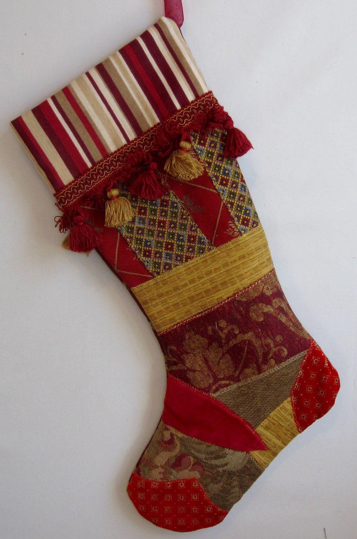 Elegant Christmas stocking with fancy trim, fabric art ...