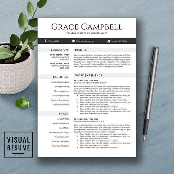 Creative Resume Template, Cover Letter, Word, US Letter, A4, CV - weekend scheduled template