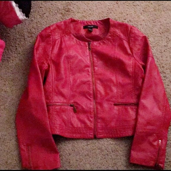 Red leather blazer Size large , but fits like a size small, perfect condition!:) Forever 21 Jackets & Coats Blazers