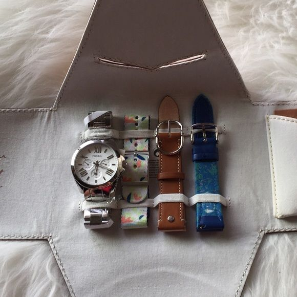 Limited Edition Watch Large watch similar in size to the MK Bradshaw statement watch (not included). Fossil provides four looks in one, silver metal, brown leather, blue textile/leather, and multi color strap make this an awesome collection and gift, comes in leather carrying case all tags and wrapping intact. NO TRADES Fossil Accessories Watches