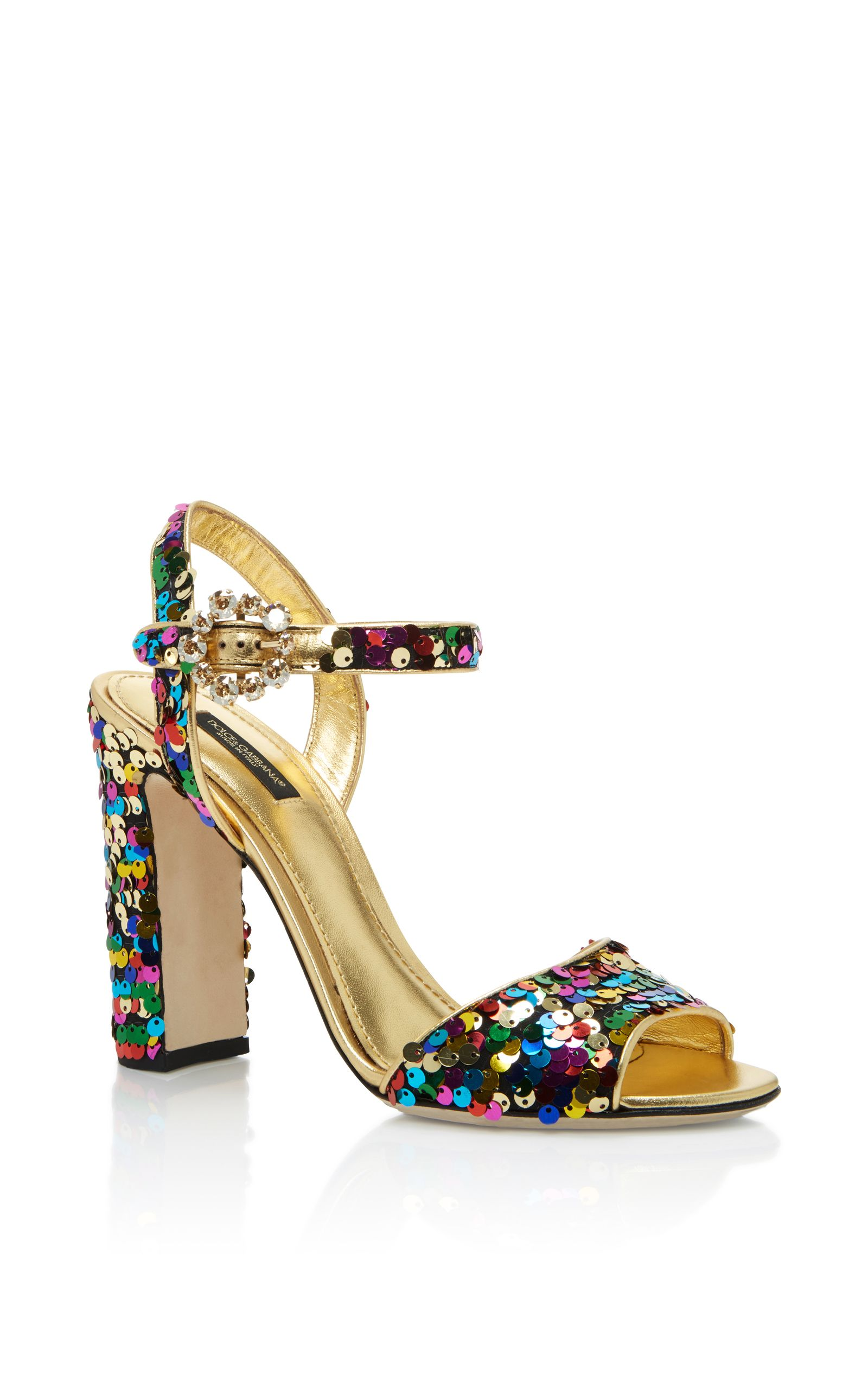 c6faf2cca262d7 DOLCE   GABBANA Sequined Leather Sandals.  dolcegabbana  shoes  sandals