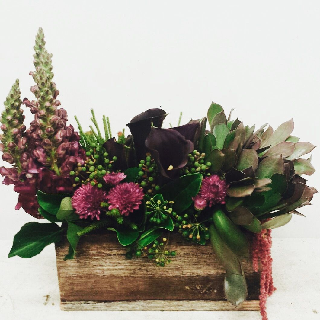 Wedding Flowers Melbourne: Burgundy & Green Rustic Centrepiece