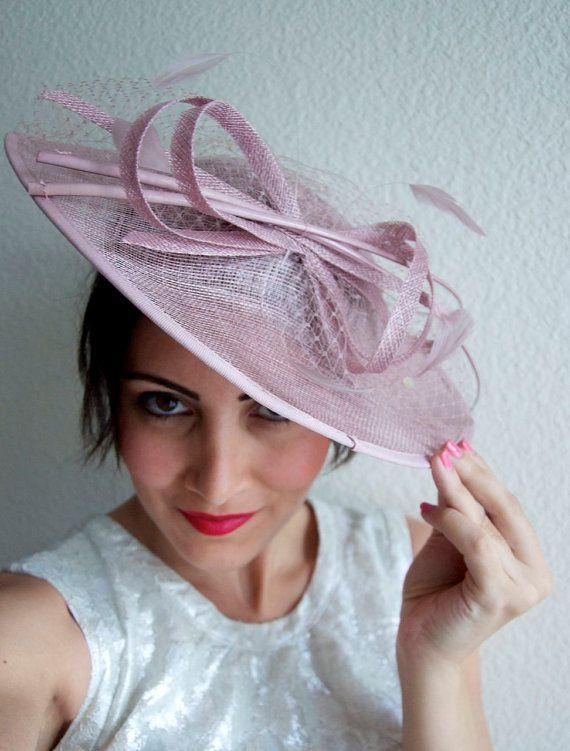 c5fbfdeda7afb Pink Fascinator Hat - Wide Brimmed Blush Pink mesh Fascinator Hat Headband