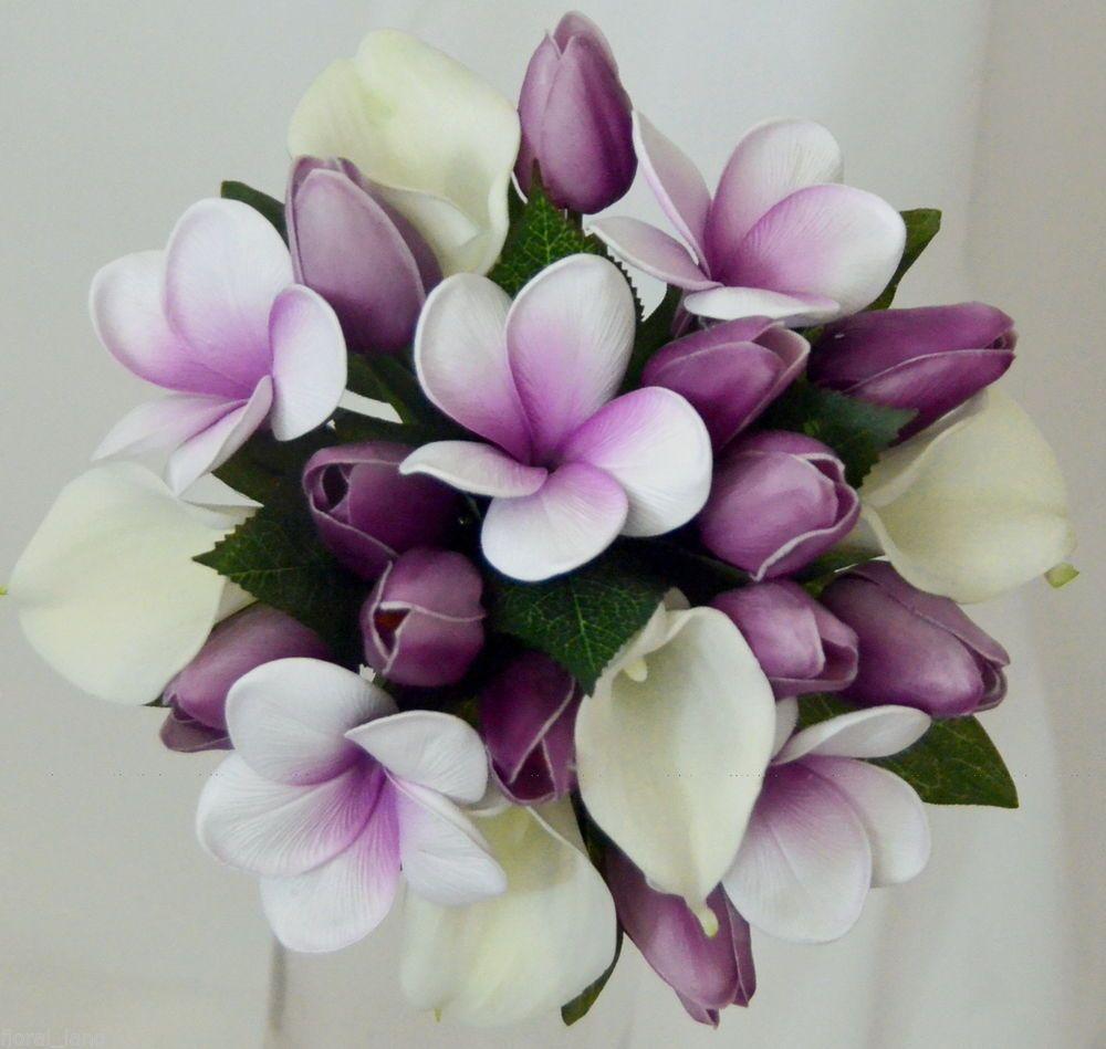 Silk Wedding Bouquet Latex White Lily Purple Tulip Frangipani Maid