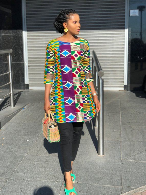 Rosemary African Print Ankara and crepe 2 way top/ tunic #africanprintdresses