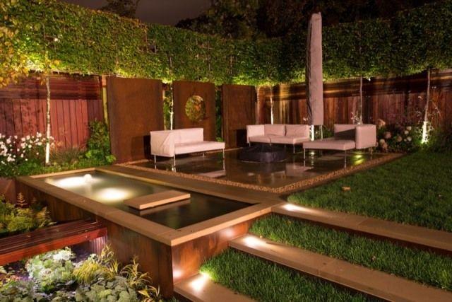 Beleuchtung Garten Holz Sitzbereich Hecken Sichtschutz