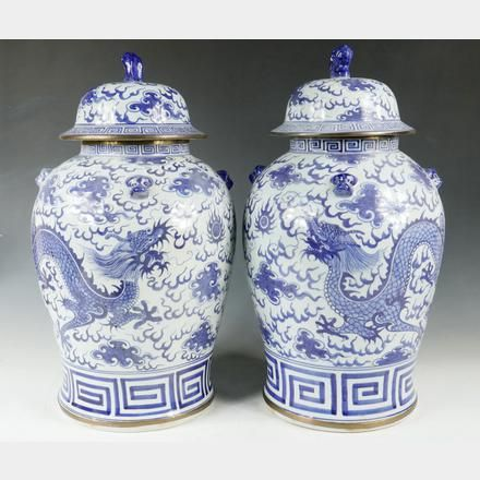 Pair Chinese Porcelain Jars Large Of Export Blue White