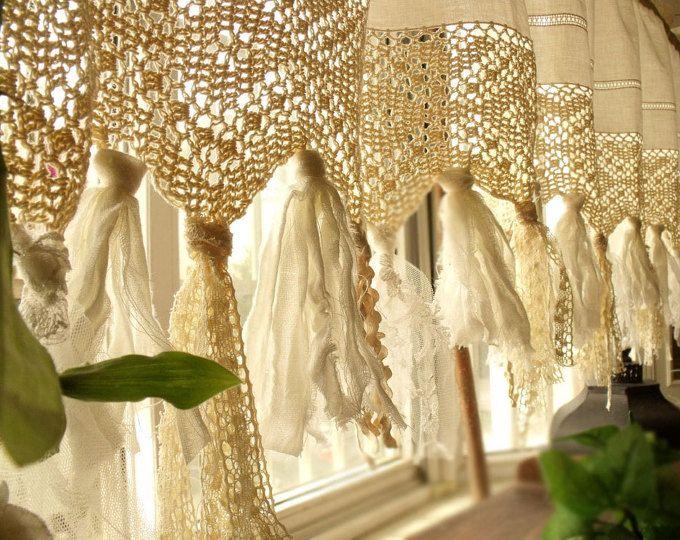 Vintage Hippie Valance - Boho HANDmade Crochet Curtain window ...
