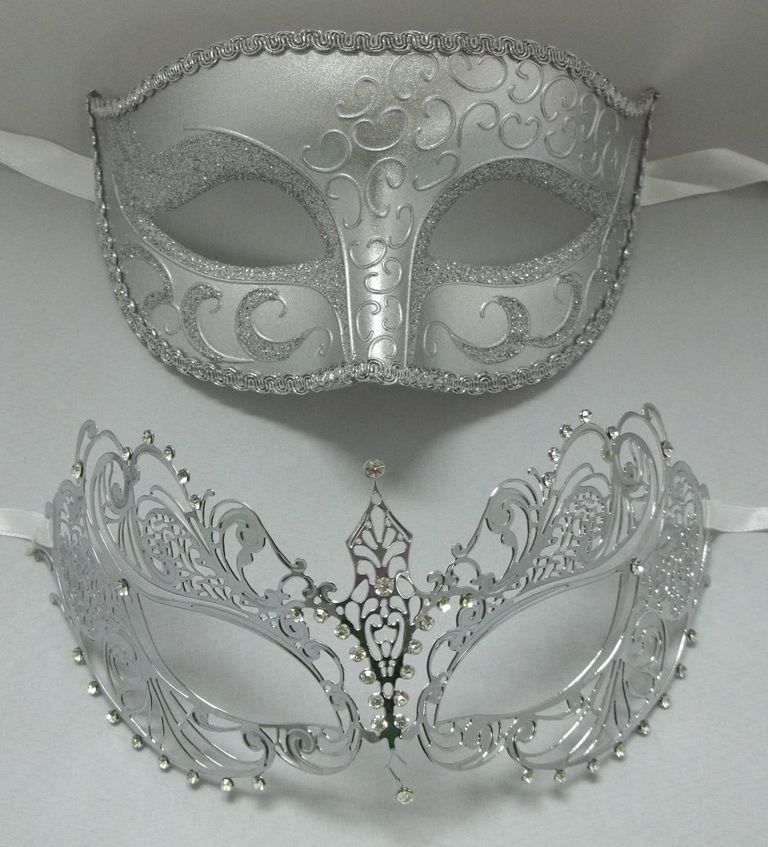 Men Women Lover Couple Metal Phantom Glitter Venetian Masquerade Prom Party Mask