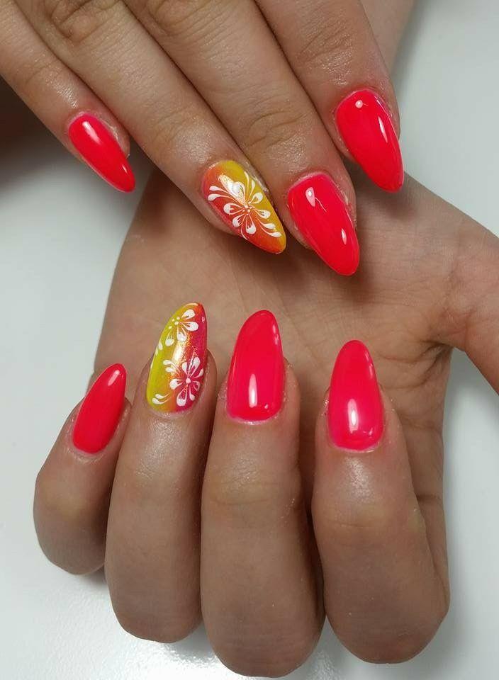 Rosa Fluo di Passione Unghie Fiori Con il gel Royal Crystal nails e il  penello 0 Short