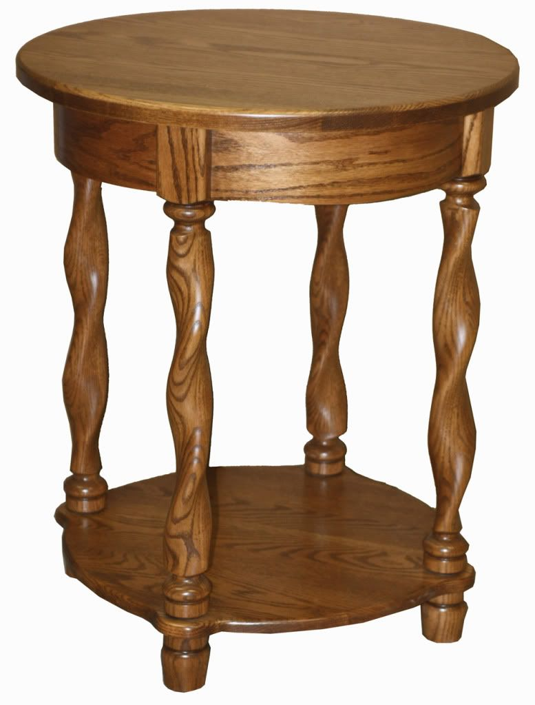 Best Amish End Table Round Traditional Solid Wood Twisted Leg 400 x 300