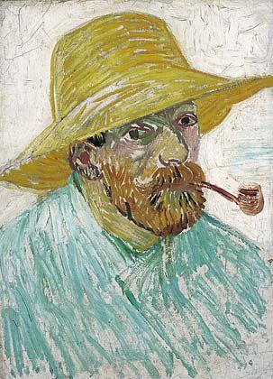 Zelfportret met pijp en strohoed, 1887 Vincent van Gogh (1853-1890 - Description De La Chambre De Van Gogh
