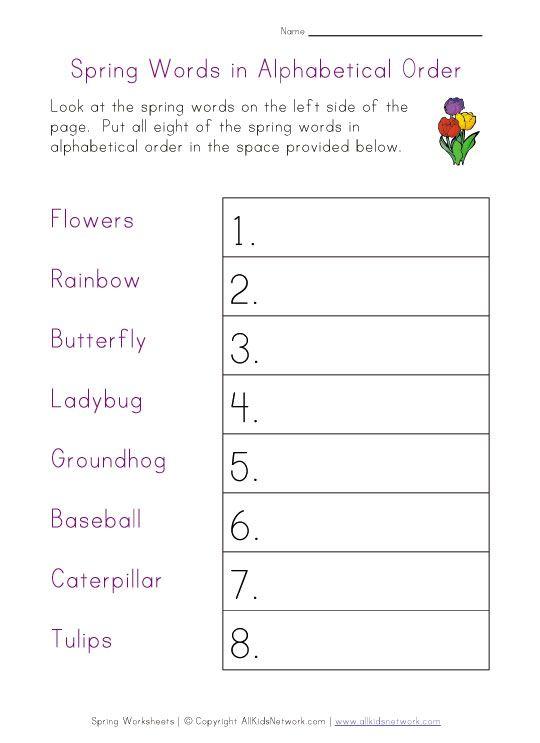 spring worksheet alphabetical order