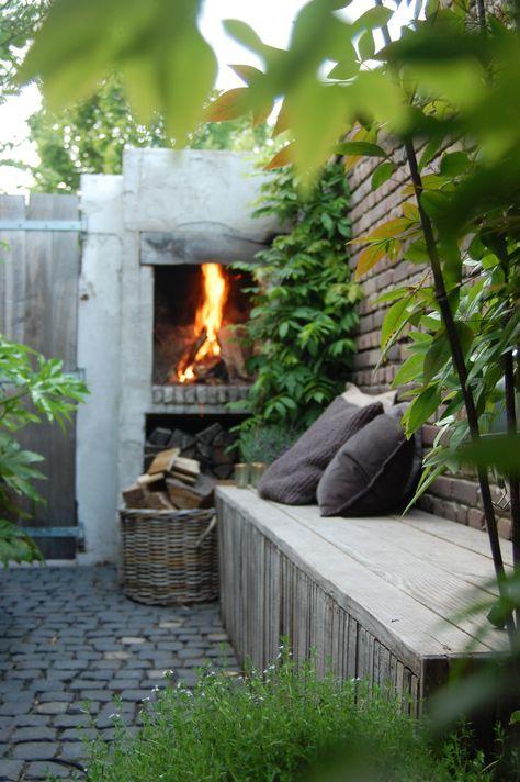 kleine tuin, openhaard, tuinaanleg, hovenier, sfeer, knus, gezellig, tuin, bank…