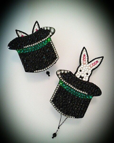Swarovski magic pop up nipple pasties Custom rabbit in a hat design