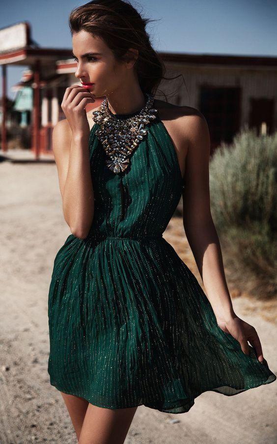 Vestidos casuales verde esmeralda