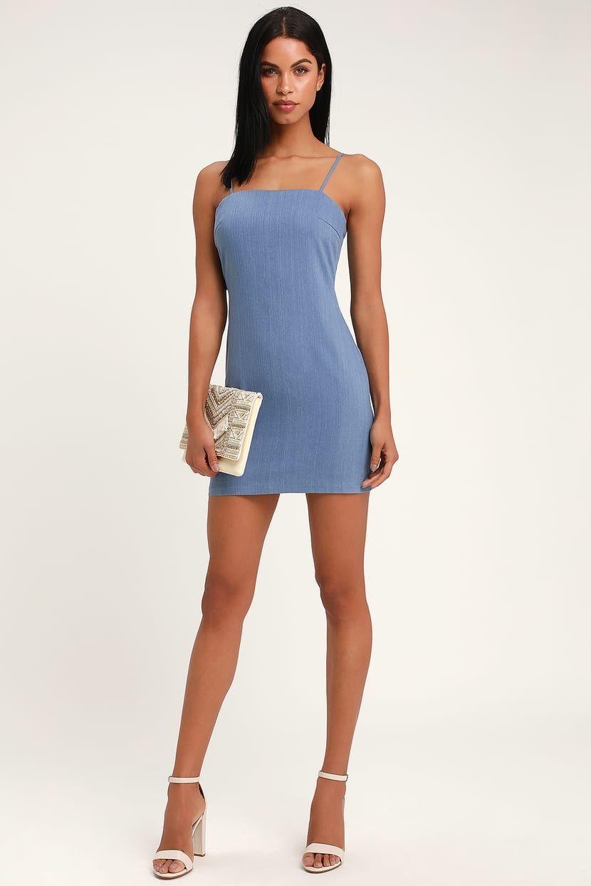 1ffc41b9197 Cute Chambray Dress - Tie-Back Dress - Denim Dress - Blue Dress