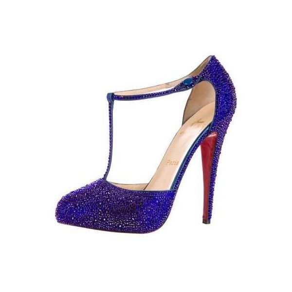 Pre-Owned Christian Louboutin Blue Crystal Strass Pumps ($2,500) ❤ liked on Polyvore featuring shoes, pumps, blue pumps, crystal shoes, blue color shoes, blue crystal shoes and christian louboutin shoes