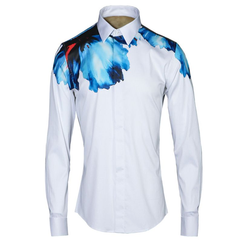 Click to Buy    Luxury Mens Dress Shirts 2017 Brand Design Digital Print.    bae14e02624