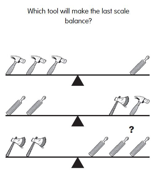 IQ Test Question 33 - Which tool will make the scales balance? Answer: http://www.iqcatch.com/frontend/home/page/IQ-Answer-33