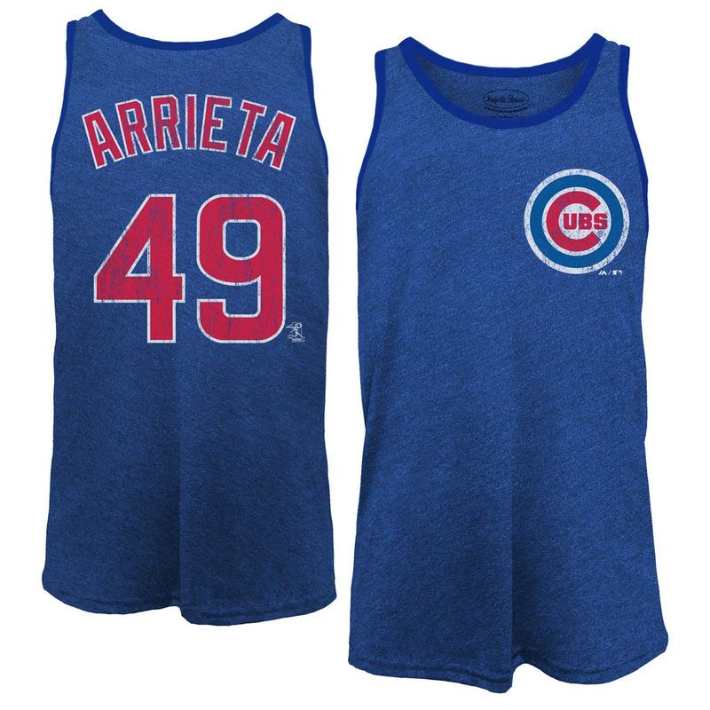 Jake Arrieta Chicago Cubs Majestic Threads Name & Number Tri-Blend Tank Top - Royal