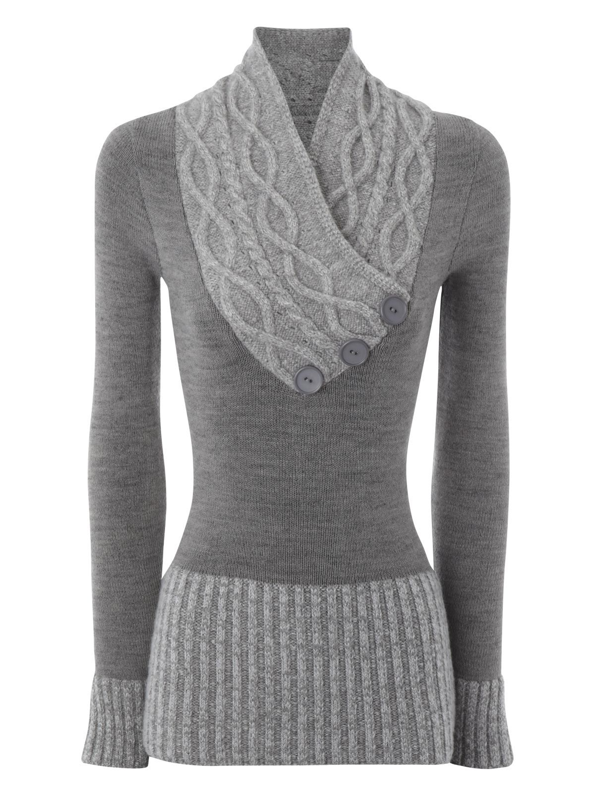 3 button multi cable shawl jumper by Jane Norman