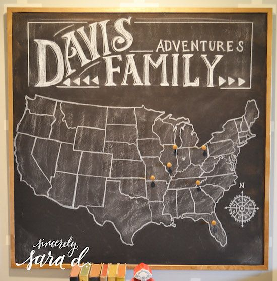 Chalkboard US Travel Map Travel Maps Chalkboards And Craft - Us map chalkboard