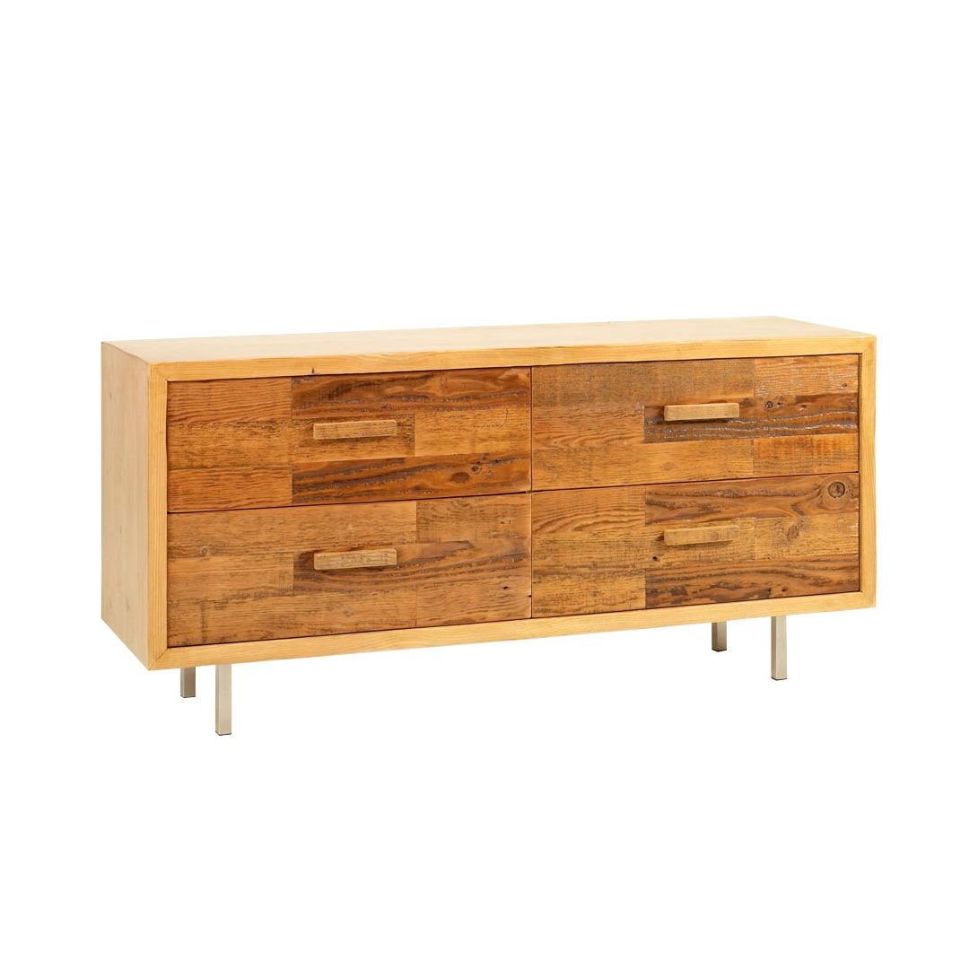 When you want eco-friendly furnishings, it's hard to beat reclaimed wood. Warm tones of old wood get a squared-off, modern design in this broad, handsome four-drawer dresser. The natural grain of the w...  Find the Harris Reclaimed Wood Dresser, as seen in the Shades of #Turmeric Collection at http://dotandbo.com/collections/shades-of-turmeric?utm_source=pinterest&utm_medium=organic&db_sku=UBW0001