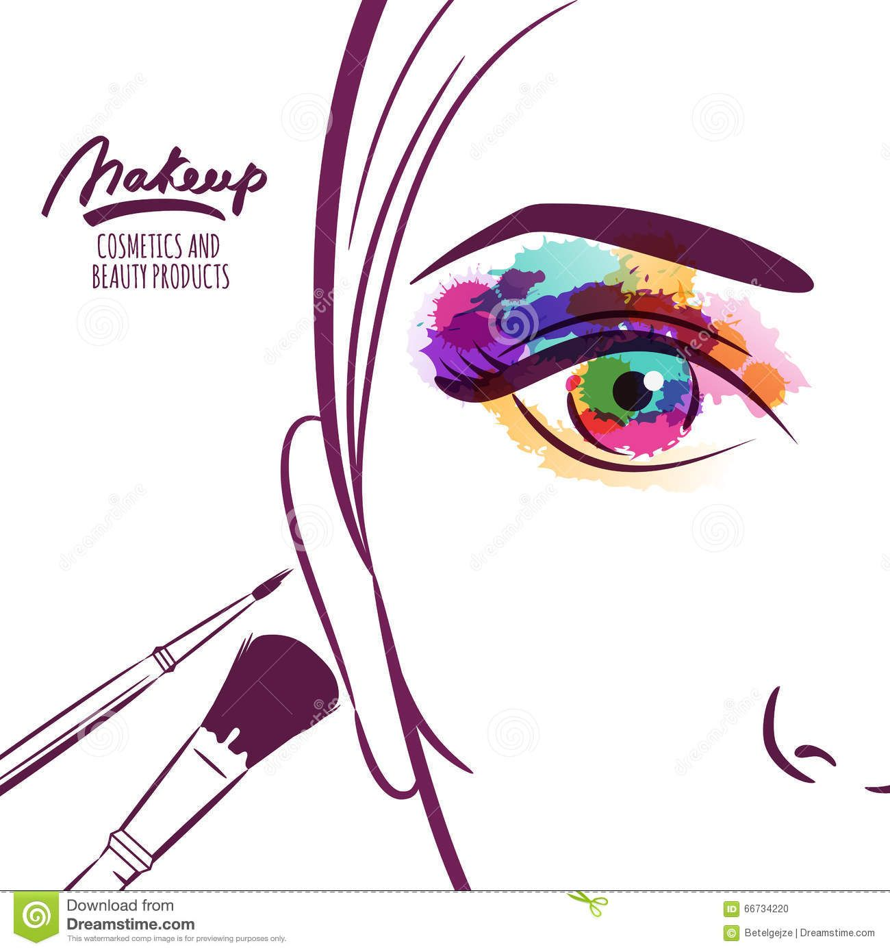 Vector Illustration Of Young Woman Face With Colorful Eye And