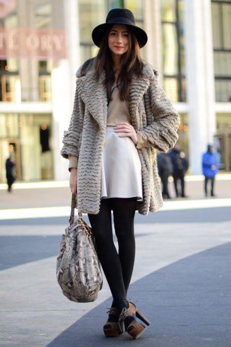 New York Winter Street Outfit Fashion Style Clothing Women Apparel Black Leggings Pants Handbag Heels Brown Autumn Spring Long Tunic Pantyhose