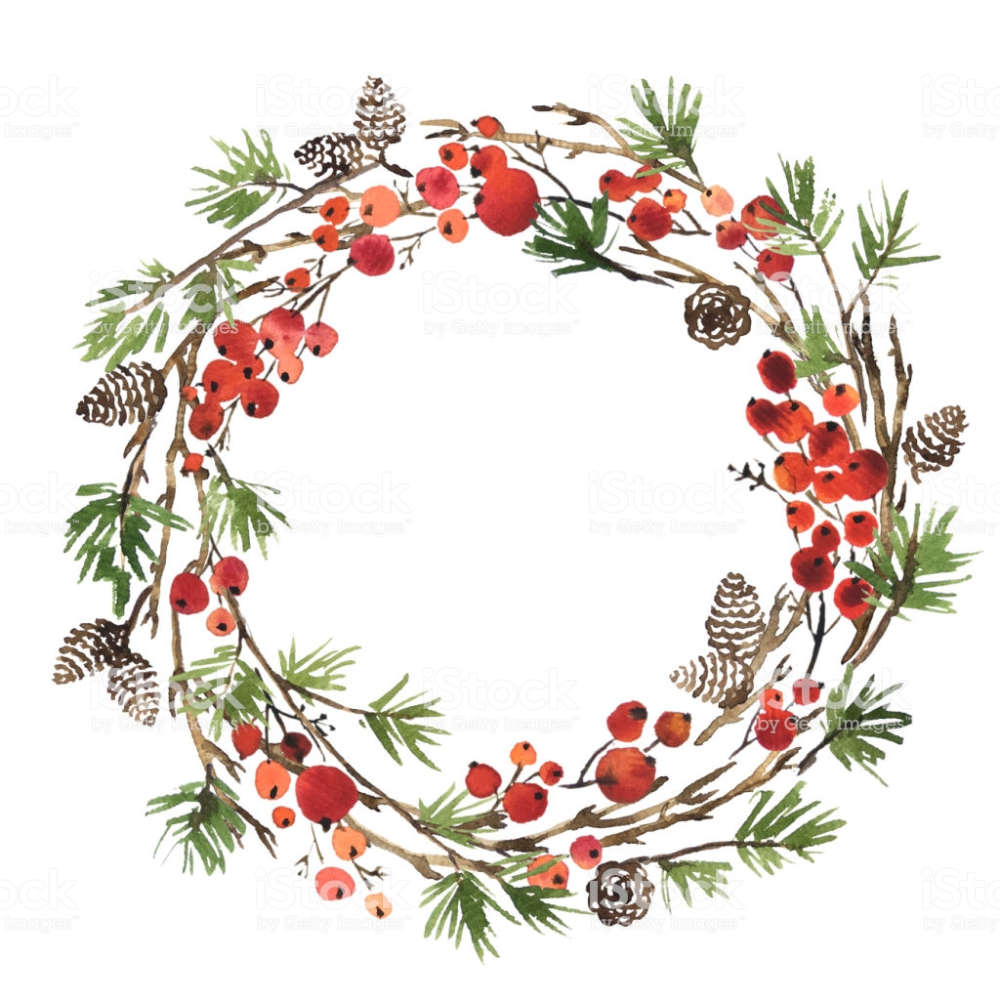 Photo of Watercolor Christmas wreath made of pine branches, pine cones and …