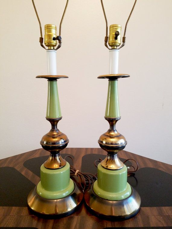 Mid Century Lamps Avocado Green and Brass by TheRetroProfessor