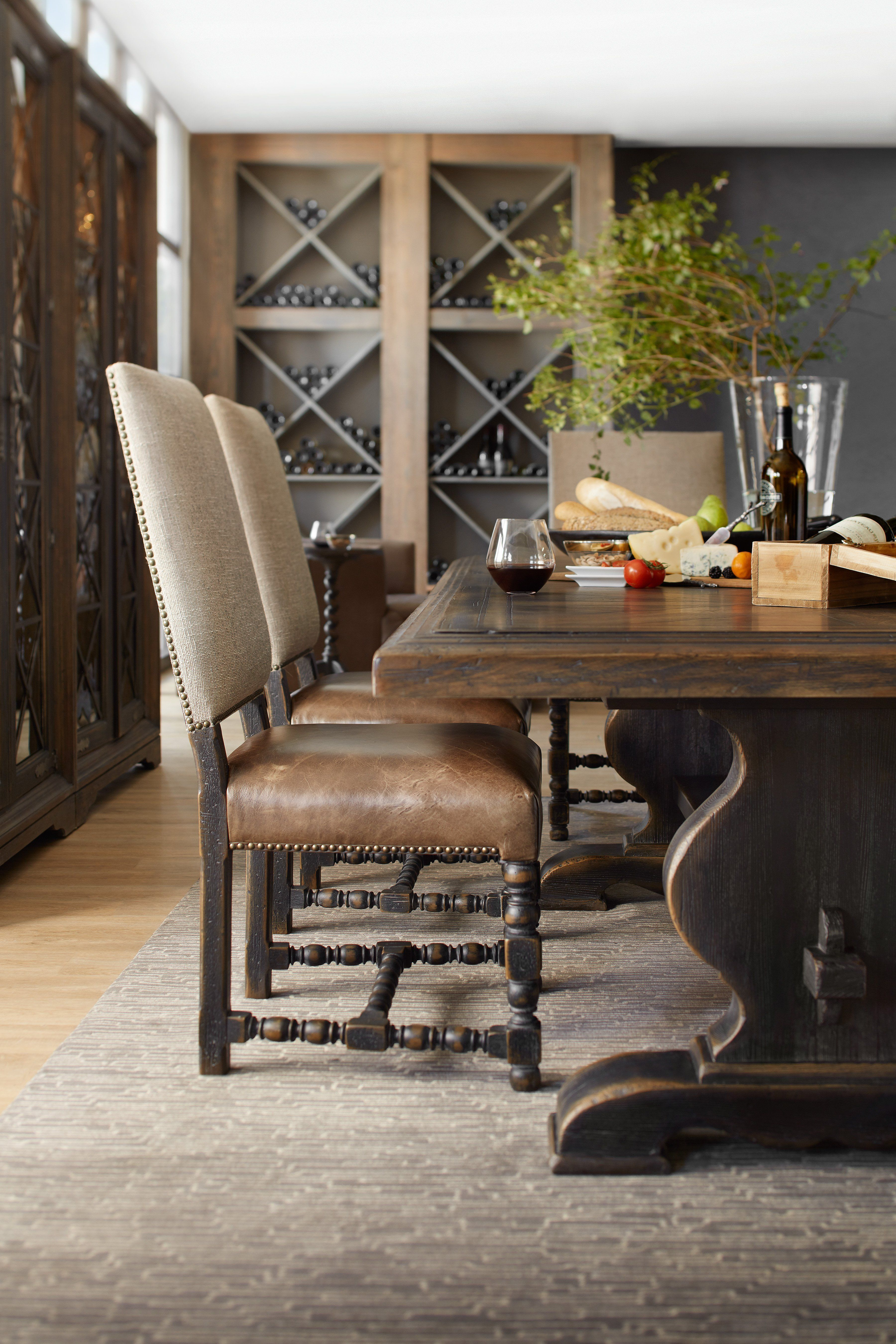 Comfort Upholstered Arm Chair Dark Wood Dining Table Side
