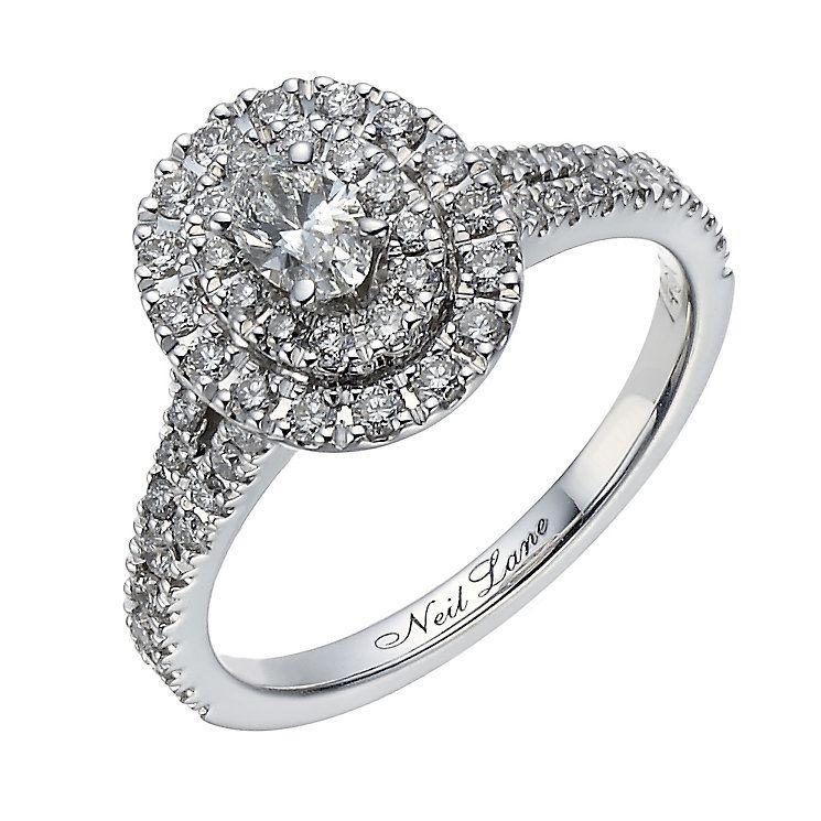 Neil Lane 14ct White Gold 080ct Oval Diamond Halo Ring